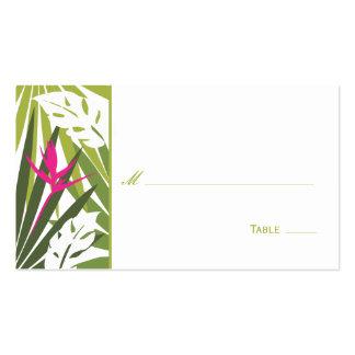 Tarjeta floral tropical del lugar - verde y rosa tarjeta de visita