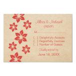 Tarjeta floral tropical roja de la respuesta invitación 8,9 x 12,7 cm