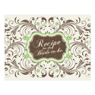 Tarjeta floral verde de la receta de Brown para la Postal