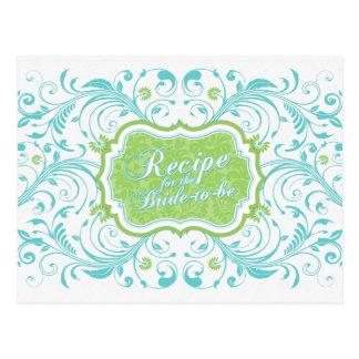 Tarjeta floral verde de la receta de la turquesa tarjetas postales