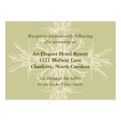 Tarjeta floral verde oliva antigua de la recepción tarjetas de visita