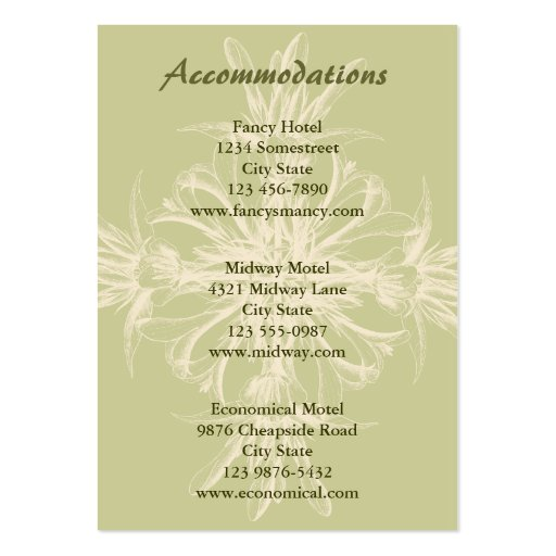 Tarjeta floral verde oliva antigua de los alojamie tarjetas de visita