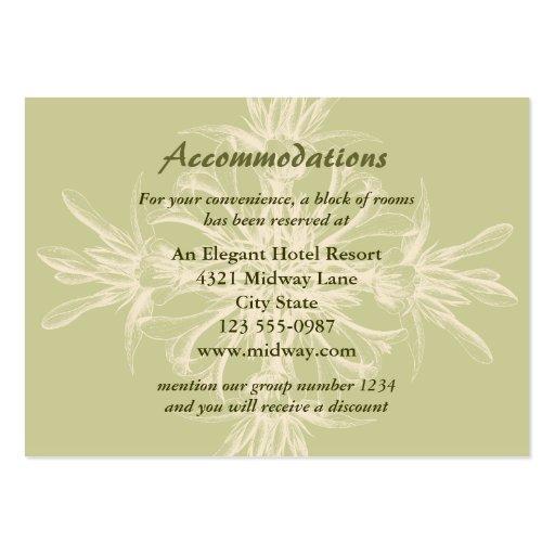 Tarjeta floral verde oliva antigua de los alojamie plantilla de tarjeta de visita