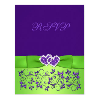"Tarjeta floral verde púrpura IMPRESA de RSVP del Invitación 4.25"" X 5.5"""