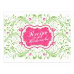 Tarjeta floral verde rosada de la receta para la n postales