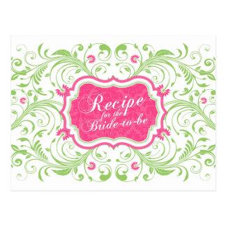 Tarjeta floral verde rosada de la receta para la tarjeta postal