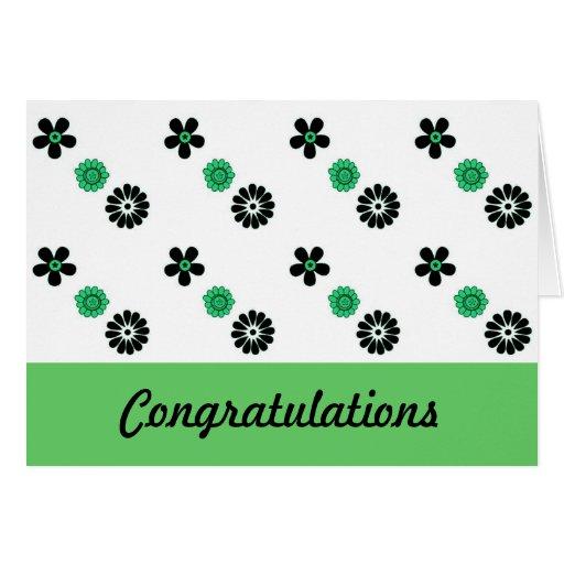 Tarjeta floral verde y negra