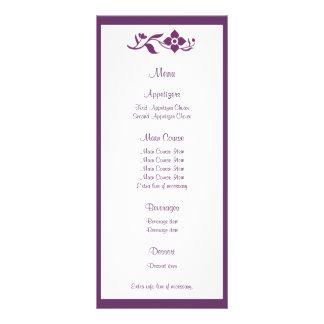 Tarjeta floral violeta del estante del menú del bo plantilla de lona