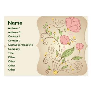 Tarjeta floral y de los remolinos rosada elegante  tarjetas de visita grandes