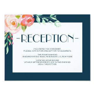 """Tarjeta floreciente de la recepción nupcial de invitación 4.25"""" x 5.5"""""""