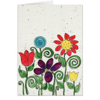 Tarjeta - flores de Stemed - acuarela