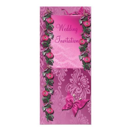 Tarjeta florida Cerise rosada de la invitación del Invitación 10,1 X 23,5 Cm