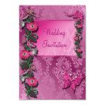 Tarjeta florida Cerise rosada de la invitación del Invitación 8,9 X 12,7 Cm