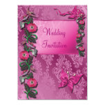 Tarjeta florida Cerise rosada de la invitación del Invitación 13,9 X 19,0 Cm