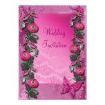 Tarjeta florida Cerise rosada de la invitación del Invitación 11,4 X 15,8 Cm