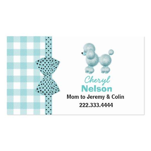 Tarjeta francesa de la mamá del caniche de la tarjetas de visita
