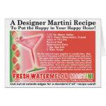 Tarjeta fresca de la receta de Martini de la sandí