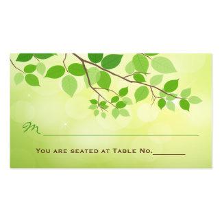Tarjeta frondosa del lugar de la recepción nupcial tarjetas de visita