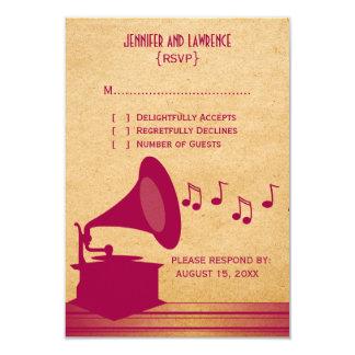 Tarjeta fucsia de la respuesta del gramófono del invitación 8,9 x 12,7 cm