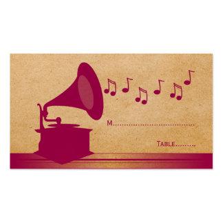 Tarjeta fucsia del lugar del gramófono del vintage plantillas de tarjeta de negocio