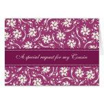 Tarjeta fucsia púrpura de la invitación de la dama