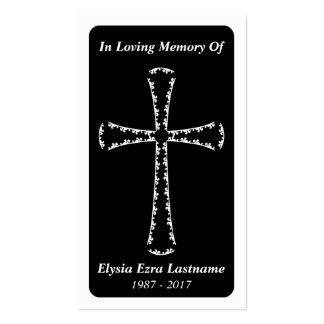tarjeta fúnebre. cruz elegante tarjetas de visita