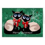 Tarjeta - gatos siameses del navidad