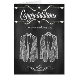 Tarjeta gay de la enhorabuena del boda