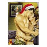 Tarjeta gay del beso de Santa