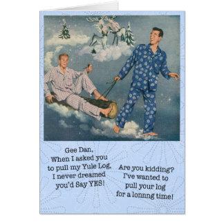 Tarjeta gay divertida del registro de Yule