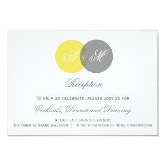"""Tarjeta gemela amarilla y gris de la recepción invitación 3.5"""" x 5"""""""