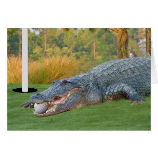 Tarjeta Golfing del cocodrilo de la mentira peligr