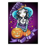 Tarjeta gótica de la bruja de Lisa Halloween