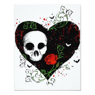 Tarjeta gótica de la invitación del corazón