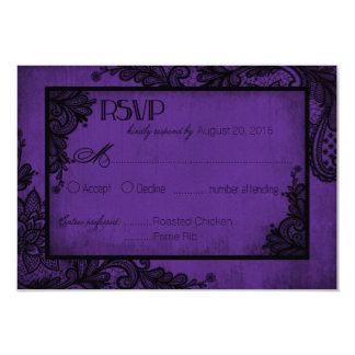 """Tarjeta gótica de RSVP del cordón púrpura y negro Invitación 3.5"""" X 5"""""""