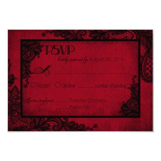 """Tarjeta gótica de RSVP del cordón rojo y negro Invitación 3.5"""" X 5"""""""