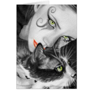 Tarjeta gótica del gatito del chica