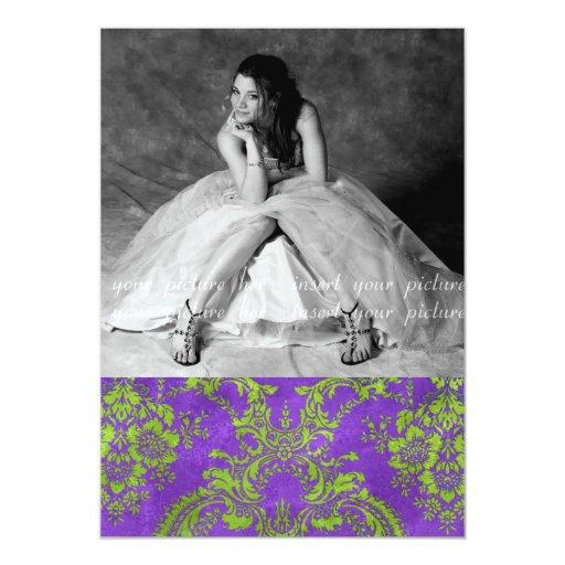 "Tarjeta GR púrpura de la foto del fiesta del dulce Invitación 5"" X 7"""
