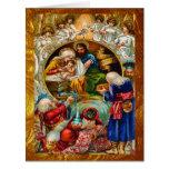 Tarjeta grande de la natividad de oro del navidad