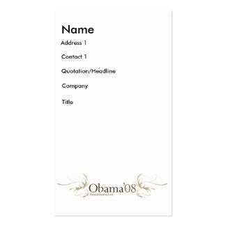Tarjeta grande del perfil de la campaña de Obama O Tarjetas De Visita