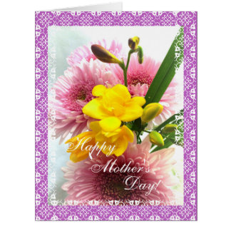Tarjeta GRANDE del ramo de la flor del día de