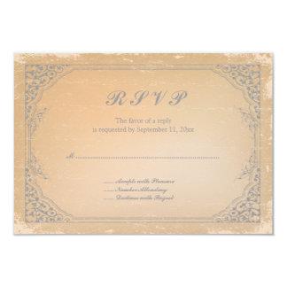 Tarjeta gris bronce de cañón apenada del rsvp de comunicado