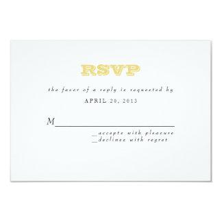 """Tarjeta gris de Chevron RSVP en vara de oro Invitación 3.5"""" X 5"""""""