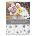 Tarjeta gris de la foto de la Feliz Año Nuevo de l