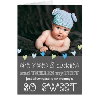Tarjeta/gris de la foto del día de madre de los be tarjeta pequeña