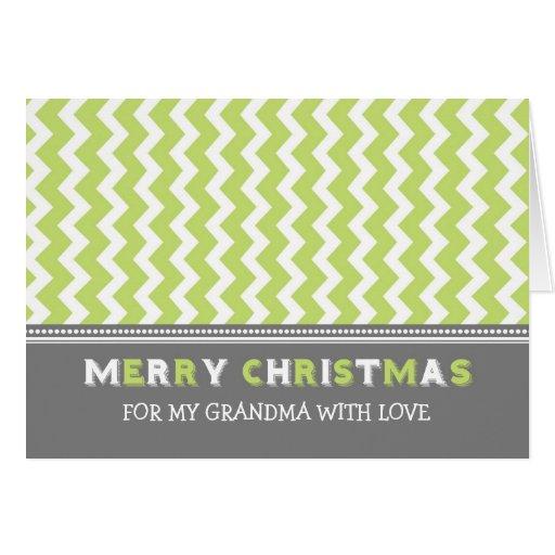 Tarjeta gris de las Felices Navidad de la abuela d