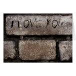 Tarjeta gris de los ladrillos te amo