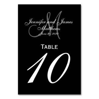 Tarjeta gris negra del número de la tabla del boda