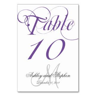 Tarjeta gris púrpura del número de la tabla del