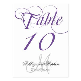 Tarjeta gris púrpura del número de la tabla del bo postales